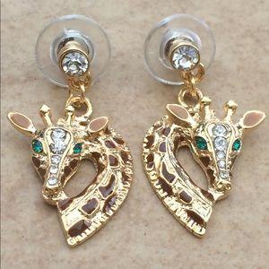 Jewelry - Gold Tone Brown Enamel Giraffe Drop Earrings